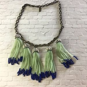 BaubleBar Seed bead tassel link chain necklace